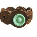 Loopz armband bruin brown flower button