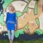 Zendee blauwe boothals jurk