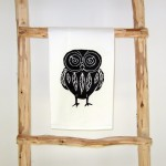 Theedoek 'Owl' black - Cotton and Stone