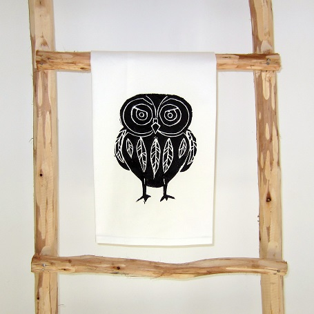 Theedoek 'Owl' black - Cotton and Stone