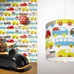 Lavmi kinderbehang Auto's wit en bijpassende lamp