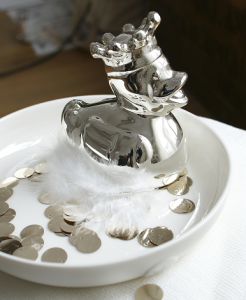Silver plated duck moneybank - spaarpot bambam