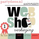 winnaar webshopverkiezing Partydeco - Hippe Shops