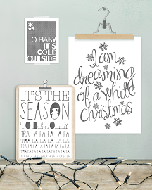 Zwart wit kerst posters collages - Christmas sing along- PrintCandy