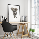 Geometrische illustraties uit de collectie Geometric Wildlife - poster olifant - tinklecherry.nl
