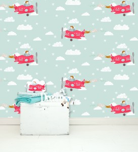 Kinderkamercollectie Dream big little one - vliegtuig behang mint - love-sam.com