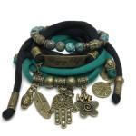 Armband met Hamsa bedel en plaat brons met tussenarmbandje van turquoise steen en witte agaat - esperanzadeseo.nl