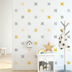 Muursticker Confetti waterverf kruisjes geel - decodeco.nl