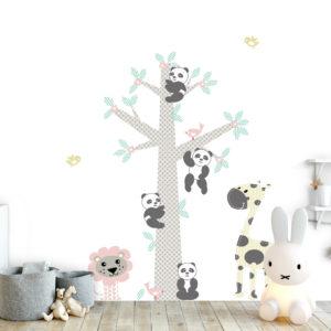 Muursticker Boom Pandas pink - decodeco.nl