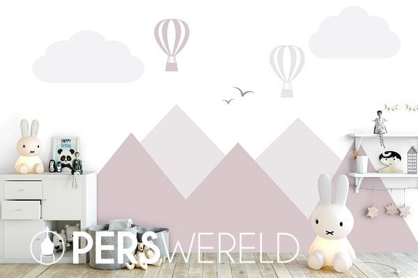 Muursticker Bergen en luchtballonnen pink - daringwalls.com