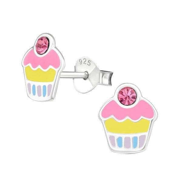 Kinder oorbellen cupcakes kristal