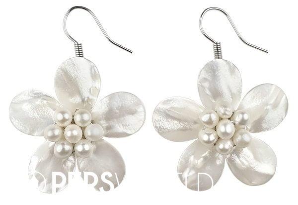 Parel oorbellen White Shell Flower - zhenzhu