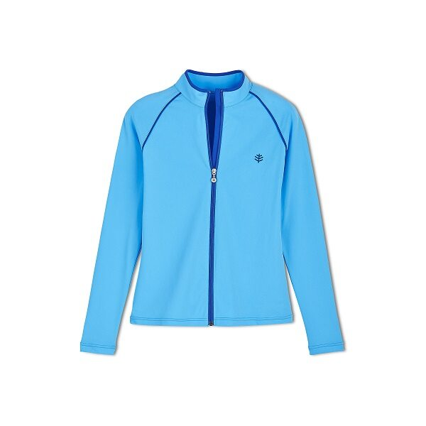 UV-zwemjas voor dames azuurblauw